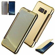 xifanzi Spiegel Hülle für Galaxy S8 Plus Flip Gelb Klapphülle Mirror Oberfläche Kunststoff Rückseite Dünn Kristall Transparent KlarFolio Etui Schutzhülle Tasche Case Cover für Samsung Galaxy S8 Plus