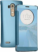 xifanzi Spiegel Hülle für LG G4 Flip Blau Klapphülle Mirror Oberfläche Kunststoff Rückseite Dünn Kristall Transparent KlarFolio Etui Schutzhülle Tasche Case Cover für LG G4