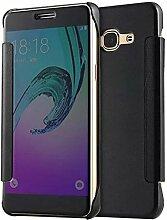 xifanzi Spiegel Hülle für Samsung Galaxy J5 2015 Flip Schwarz Klapphülle Mirror Oberfläche Kunststoff Rückseite Dünn Kristall Transparent KlarFolio Etui Schutzhülle Tasche Case Cover für Samsung Galaxy J5