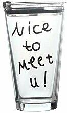 XIJIE Glas Strohhalm Becher mit Skala Wasserbecher
