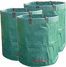 Xiliy 3x Gartensack Strapazierfähig für Wasserabweisend Wiederverwendbar Polypropylen 272L Gartenabfallsack Garten-Abfallbeutel