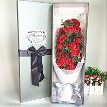 Xin Home 21Rosen Nelken Creative Geschenke Blume gehobenen rose Nelke Seife Blumen Künstliche Blumen für Blumensträuße Valentine 's Day Geschenk-Box Creative Geschenke