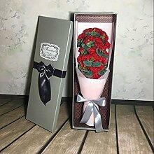 Xin Home 21rot Blume Creative Geschenke Blume gehobenen rose Nelke Seife Blumen Künstliche Blumen für Blumensträuße Valentine 's Day Geschenk-Box Creative Geschenke