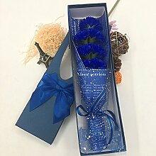 Xin Home 7blau Blume Seife Blumen Künstliche Blumen für Nelken Creative Geschenke Box der Mütter Tag Emulation Blume