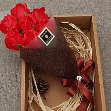 Xin Home 7Blumensträuße rot (nur für Sie) Seifen Blumen Künstliche Blumen für Valentinstag Geschenk Ideen Nelken Rosen Valentinstag Geschenke Maiden Honig Mother 's Day To Mom