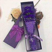 Xin Home 7Seife Blume lila Künstliche Blume für Nelken Creative Geschenk-Box Mother 's Day Simulation Blume