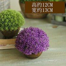 XIN HOME Amerikanische ländlichen Heimat Simulation grünen Topfpflanzen Dekoration frische Kleine Pflanze Bonsai Ornamente, Aka 82A Lila