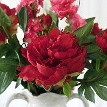 XIN HOME Der europäische Amerikaner Pfingstrose künstliche Blume Set klassische Fake Blume, eine Drei Pfingstrose Wein ro