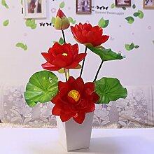 XIN HOME Emulation künstliche Blume kit small Lotus Lotus Lotus flower Dekoration Desktop, große Lotus grosse rote mit Flasche