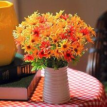 XIN HOME Fake Blume Simulation künstliche Blume Anzug Wohnzimmer Möbel Blumen aus Seide Blumenornamenten Kunststoff Blumentöpfe getrocknet Sträuße, fluoreszierendes Gelb Kleine wilde Lignin Lila