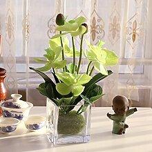Xin Home Geprägte Blume Schmetterling Set Wohnzimmer Blumen Künstliche Blumen Dekoration Keramik Vase, Quadrat Glas Phalaenopsis/Grün