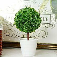 XIN HOME Hochwertige Simulation Künstliche Blumen Farbe Kunststoff Blumentöpfe Dekoration Basteln, Grün