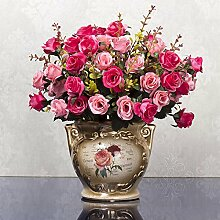 XIN HOME Im europäischen Stil Künstliche Blumen getrocknete Blume Wohnzimmer Möbel Kübelpflanzen Ornamente Indoor Tisch Couchtisch Plastikblumen, 4 Pulver Candle Light Diamant Rose