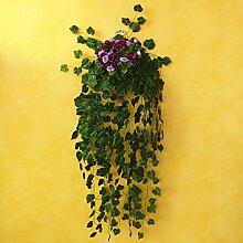 XIN HOME Im europäischen Stil pastorale Wand Simulation Künstliche Blumen Hochzeit Fake Blumen Vase Blumenkorb Set Home Zubehör Home Möbel, Valentinstag Rattan hängend Farbe Lila Diamant Rose