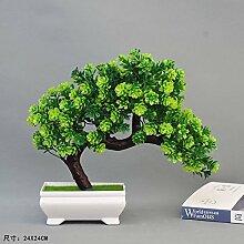 XIN HOME Kiefer Simulation künstlichen Blumen Wohnzimmer Tisch Dekorationen kleine Töpfe Töpfe Ornamente Couchtisch Kunststoff Grün der Vegetation Bonsai Möbel, Biegestab einladende Kiefer Bonsai Grün