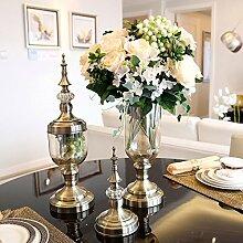 XIN HOME Klassische American Home Modell Glas Vase Blume Ornamente Dekoration künstliche Vase Blumen für Möbel, Wunschdenken weiße Rose +1 auf Bronze vase pass