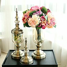 XIN HOME Klassische American Home Muster Glas Vase Blume Ornament Dekoration künstliche Vase mit Blumen, Shell Hortensie Rosa + 1 Bronze Vase Se