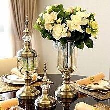 XIN HOME Klassische American Home Muster Glas Vase Blume Ornament Dekoration künstliche Vase Blume, Gardenia +1 Falten Vase Se