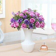 Xin Home Künstliche Blume Rose Simulation Flower Set Home Zubehör gefälschte Vase Wohnzimmer Dekoration Blumenarrangements Blumen silk Blume pastorale Blumenarrangements, Europäischen Rose/Viole