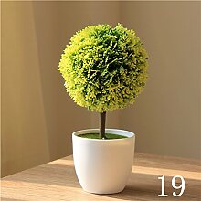 XIN HOME Künstliche Blumen Dekoration Simulation Anlage Fake Blumen Topfpflanzen Home Indoor Tisch Dekoration grün Pflanzen Blume Kugel Gras Ball Bonsai, 19.