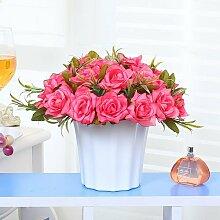 Xin Home Künstliche Blumen frisch Tabelle Pendel Set Vase Blumen Wohnzimmer Dekoration Fake Blumentisch Blume Garten Schlafzimmer silk Blume, Rose Blume/Rose Ro
