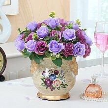 Xin Home Künstliche Rose Rosen Simulation Flower Set Wohnzimmer Dekoration Blumen Home möbel Ornamente Blumen Fake Blumen Silk Flower Arrangement, Paris Rose/Viole