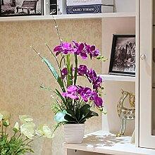 Xin Home Phalaenopsis Simulation Flower Set Wohnzimmer Dekoration Künstliche Blumen Zimmer Vase Blumen Produkte, Phalaenopsis/Deep Purple