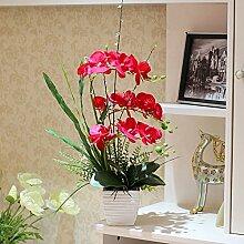 Xin Home Phalaenopsis Simulation Flower Set Wohnzimmer Dekoration Künstliche Blumen Zimmer Vase Blumen Produkte, Phalaenopsis / Ro
