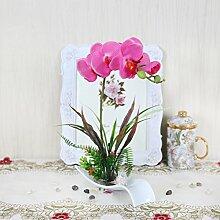 Xin Home Phalaenopsis simulation Keramik Blume Blume Blume Dekoration Blumen hochwertige Blume Wohnzimmer Blumen, Rosa
