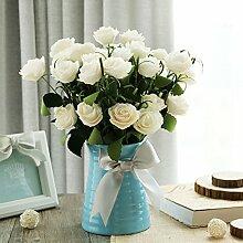 XIN HOME Rose silk Blume PE Dry Flower Bouquet Fake Blume Simulation künstliche Blume Set Zubehör Wohnzimmer Möbel, Blau Gewinde Vase +6 gebündelt Künstliche Blume Rose