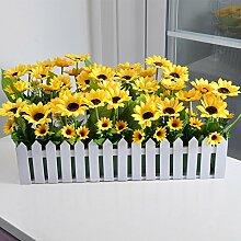 XIN HOME Silk Flower Bouquet Sonnenblume Holzzaun Blume künstliche Blume Set Wohnzimmer Dekoration Dekoration, 30 cm Sonnenblume eingestell