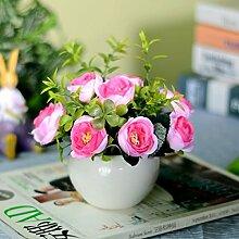 XIN HOME Simulation Anlage Balkon Dekoration pastorale Ornamente Wohnzimmer Fensterbänke Kunststoff Fake Blumen Topfpflanzen, Viole