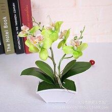 Xin Home Simulation Blume künstliche Blume Schmetterling Orchidee Anzug Simulation Plant Hochzeit Desktop Wohnzimmer Dekoration, Grün