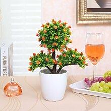Xin Home Simulation kleine Bonsai Kübelpflanzen Wohnzimmer Simulation Baum Fake Baum Simulation Kleine grüne Plant Simulation Flower Set Fake Blume Dekoration Blumen, drei Gabel kleine Knospen/Orange