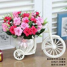 XIN HOME Simulation künstliche Blume gesetzt Fake Blume Wohnzimmer Home Dekoration Blumen Topfpflanzen Kunststoff Blume Seide Blumen Dekoration Blumen Bonsai, Transparent Winkel Rose Blume Rose