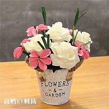 XIN HOME Simulation künstliche Blume pastorale Home Kunststoff vergossen Fake Blume Hochzeit Tischdekoration Wohnzimmer Dekoration frische Kleine, weiße Ice Core Rose+rosa Blume