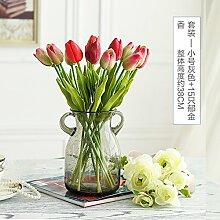 XIN HOME Simulation künstliche Blume Set Glas Farbe Vase Set Einfache Home kreative Esstisch Fake Wohnzimmer Dekoration, Tulpe rot grün eingestell