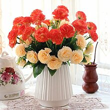 XIN HOME Simulation künstliche Blume Set Home Accessoires Dekoration Rose Kunst Dekoration Fake Blume Wohnzimmer Platzierung Blume, Orange C Weiß +4 Gehäuse Nelke
