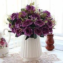 XIN HOME Simulation künstliche Blume Set Home Accessoires Dekoration Rose Kunst gefälschten Blume Wohnzimmer Platzierung Blume, C Weiß +4 Curling Rose Schnee Grün