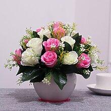 XIN HOME Simulation künstliche Blume Set Home Zubehör Wohnzimmer Deko Rose Blume Fake Blumentisch silk Blume, Big Ball 24 Rose/Pink + Weiß