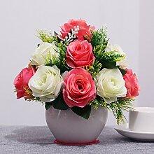 XIN HOME Simulation künstliche Blume Set Home Zubehör Wohnzimmer Deko Rose Blume Fake Blumentisch silk Blume, große Kugel Kugel Braut/Wassermelone rot+weiss