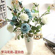 XIN HOME Simulation künstliche Blume Set Rose Blume Set Topfpflanzen Wohnzimmer Tisch Dekoration Restaurant Tische Europäische Kunststoff Seidenblumen, römische Vase + Blau Weiß