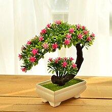 XIN HOME Simulation künstliche Blume Set Topfpflanzen Hotel Büro Wohnzimmer Dekoration Kunststoff Blume, Crescent Kiefer/Rosa