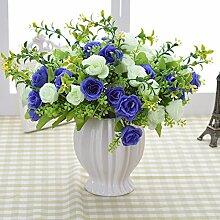 XIN HOME Simulation künstliche Blume Set Topfpflanzen Rose Blume Entsprechen Dekoration Tisch Dekoration Dekoration, Rose Lila + Weiß