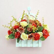 XIN HOME Simulation künstliche Blume Set Wand Dekoration Blumen Korb Blumen Pflanze europäischen Wohnzimmer Holzzaun Dekoration, Rose Set + Haken