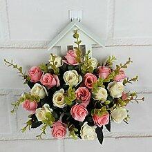 XIN HOME Simulation künstliche Blume Wand Blumenkorb Plastik Anzug pastorale Simulation künstlichen Blumen an der Wand hängende Orchidee Wohnzimmer Dekoration Blumen, Rosa Anzug