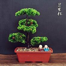XIN HOME Simulation Künstliche Blumen einladende Pine Tree Kübelpflanzen Bonsai kreative Fake Wohnzimmer Bonsai Dekoration Home Desktop Simulation Künstliche Blumen Kiefer, Große 50 Cm