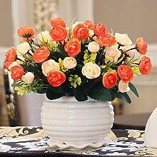 XIN HOME Simulation künstlichen Blumenstrauß Dekoration silk Blume Wohnzimmer Schlafzimmer Esstisch Couchtisch Ornamente Fake Flower Set eingerichtet, samt Blütenknospen/Orange