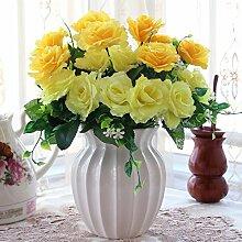 XIN HOME Simulation künstlichen Blumenstrauß Set Wohnzimmer Dekoration Indoor Möbel europäischen Fake Blumen Home Ornamente Blumen aus Kunststoff vergossen, B weiß + grün Blatt Rose/Gelb