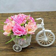 XIN HOME Simulierte künstliche Blume gesetzt Fake Blume Wohnzimmer Haus Dekoration Blumen Topfpflanzen Kunststoff Blume Silk Flower Bonsai, Rosa Blume Rosa